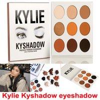 На складе Kyshadow Дженнер комплект нажимается порошка тени для век Кайли Cosmetics Водонепроницаемый Тени для век Палитра Бронзовый матовый 9 цветов / комплект