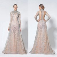 Illusion 2016 Long Sleeves Evening Dresses Appliques Beads H...