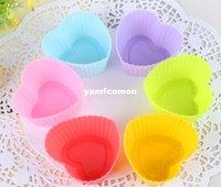Heart 7cm Cupcake Molds Silicone Cake Cup Molds Baking Soap ...