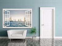 3D Window View стикер стены Кораблевождение на море Wall Art Съемный обои ПВХ Mural Decal Home Decor Гостиная