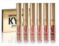 Kylie Jenner Limited Gold Birthday Edition Liquide rouge à lèvres mat 6pcs / set mini kit doré Kylie lipgloss Cosmétiques DHL Livraison gratuite