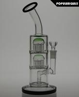 TORO triple vert macro stardust / kryptonite bongs de verre percolateur connecté avec le verre de fond bong 26.5cm Joint taille 14.4mm PG004