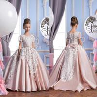 Урожай 2016 года розовый бальное платье шнурка девушок цветка платья для свадьбы с коротким рукавом маленьких девочек платья для особых случаев Длинные цветок девочки платья