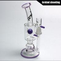 Toro Verre Stemless Jet Bipolaire Bong Violet Bong violet verre bubbler tubes d'eau de la plate-forme pétrolière dab rigs Water Pipes nid d'abeille Livraison gratuite