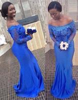 2017 год Африканский Royal Blue Русалка с длинным рукавом выпускного вечера платья партии Off-плечу Аппликации пришивания Поезд стреловидности Свадьбы Гость Вечерние платья