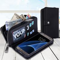 Pour Samsung bord Magnet S7Edge S7 Wallet Leather Case Cover intérieure Gel Zipper avec cadre argent Pocket Slots photo pour Galaxy G9300 G9350