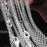 1mm 16-24 pouces 50pcs Forme Authentique Authentique Argent Solide 925 Bordure O Collier Collier Collier Homard Clasper