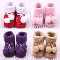 Hot Sale Winter Baby Boots Nice Cute 2 Fur balls Cotton Fabr...