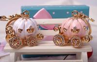 Rhinestone Pumpkin Keychains Cute Cartoon Pendant Car Key Ch...
