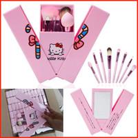 8шт Кисти для макияжа Набор розовый Hello Kitty макияж кисти комплект теней для макияжа Кисти с зеркалом Дело макияж Пудра румяна кисть