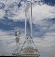 JM Flow Sci Plates-formes de pétrole plates-formes dab rigs bong en verre tuyaux d'eau avec perc en ligne grille et sprinkler perc big size beaker glass bubbler 18.8mm joint