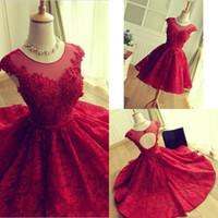 Elegant Red Scoop Neck Full Lace Open Back Homecoming Dresse...