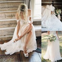 Beach Boho Wedding Dresses Bohemian with Crystal Waist Praia...