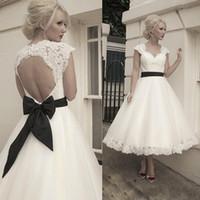 New Short Tea Length A Line Vintage Lace Wedding Dresses 201...