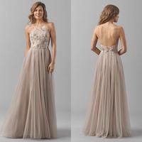 Elegant Appliqued Lace maids Dresses Spaghetti Neckline Slee...