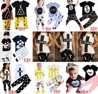2017 Crianças Ins roupa Define Moda Bebê Ternos Carta das meninas T-shirt Calças infantis Casual Outfits Meninos Ins Tops Harem Pants