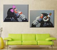2PCS Популярные мультфильм животных Monkeys, подлинный размер Ручная роспись современного декора стены животных картина маслом Painting.customized принял али-простой