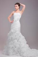 2016 Русалка Свадебные платья реальные фотографии Милая Hand Made Цветы Pleats рябить органзы Юбка зашнуровать Свадебные платья