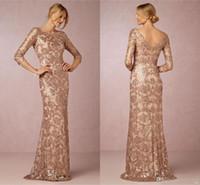 Длинные рукава розовое золото мама невесты жениха платья 2016 Бато шеи плюс размер Vintage Lace Long Formal Evening Party Wear BA0528