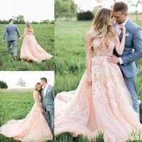 2016 Blush Pink Country Style Свадебные платья с кружевными аппликациями Sheer Погружаясь V-образным вырезом шеи Бич Pearls Backless Богемия Свадебные платья
