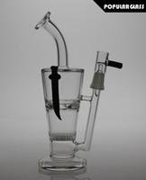 22.5cm de haut Fumoirs en verre pour l'eau percolateur en nid d'abeille Perforateur à perles en verre fritté Galss bong Rangée à huile AVEC COUTEAUX TAILLE JOINTE 14.4 PG055