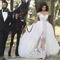 2017 Новый год сбора винограда шнурка Off-плечу Русалка Свадебные платья Великолепный арабский Overskirt Sheer Съемные Свадебные платья выполненного на заказ