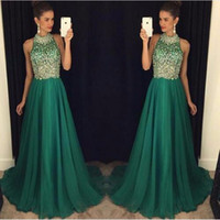 2016 Sexy Crystal Beaded Evening Dresses Halter Green Chiffo...