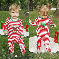 2016 top sale christams gift suits Baby Girl Boy striped goo...