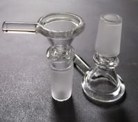 2016 Nouveau bol en verre de verre de fumer de cuvette avec 14MM Joint mâle de 18MM Joint d'herbe sec clair pour bongs en verre avec poignée