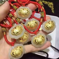 Hot style Hetian white jade and 24K gold pendant necklace 3D...