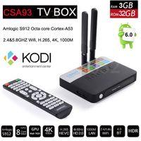 3GB 32GB CSA93 Amlogic S912 Octa core Android 6.0 TV Box Cortex-A53 BT4.0 2.4G / 5.8G Dual WiFi 1000M LAN H.265 4K Media Player VS CS918 MXQ
