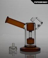 13.5cm Tall Bongs en verre mini bulleur en verre avec tube de fumée en verre quartz oscillant Amber AVEC CAPS FC-MINI