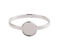 1 PCS Silver Plate 20mm Cabochon Settings Bangle Bracelet #9...