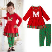 Girls Christmas Reindeer Christmas skirt suit long sleeved p...
