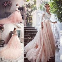 Blush Pink Unique Wedding Dresses Long Sleeve 2016 Vintage L...