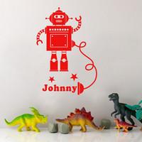 Custom- made Any Boys Name Robot Personalised Cartoon Wall St...