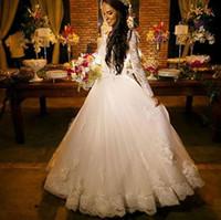 Платье De Noiva 2016 года полный шнурок Princess Свадебные платья Sheer Jewel шеи Cap рукава Длина пола Длинные рукава Свадебные платья