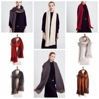 Mulheres de longo Oversized lenço do inverno quente Scarf xale Pashmina Studios Mulheres borla Wraps dupla cor Inverno Cachecóis 200 * 50 centímetros KKA920