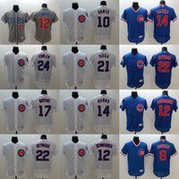 Mens Elite Chicago Cubs #22 Jason Heyward #14 Ernie Banks 21...