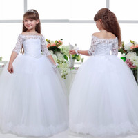 2016 New Long Lace Ball Gown Flower Girls Dresses Simple Kid...