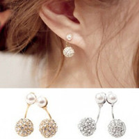 Cute Compact Pearl Ear Stud Women Lady Girls Double Ball Fas...