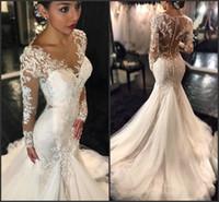 Vintage Lace Long Sleeve Mermaid Wedding Dresses 2016 Africa...