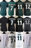 Women Ladies Football Stitched Eagles Blank #7 Bradford #11 ...
