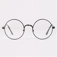 wholesale fashion retro round circle metal frame eyeglasses clear lens eye glasses unisex