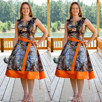 New Design Camo Bridesmaid Dresses 2016 Orange Square Neck S...