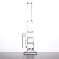 GLASS BONG 38mm Tube 3 Clear Honey Comb Perc Disque Water Pipe Glass Bong Avec charge gratuite Matching Dry Bow