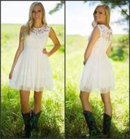Ivory Vinatage Lace Short Bridesmaid Dresses Country Style C...