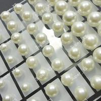 72Pcs 1Set Wholesale Fashion Round Simulated Pearl Boucles d'oreilles en acier inoxydable pour femmes Ensembles en vrac pour bijoux Livraison gratuite LR294