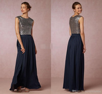 2016 Dark Navy Sequined Two Pieces Bridesmaid Dresses Jewel ...