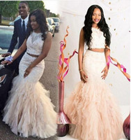 2016 Two Pieces Prom Dresses Mermaid White Ivory Sheer Neck ...
